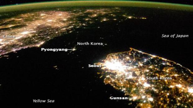 La Corea del Nord vista dallo spazio