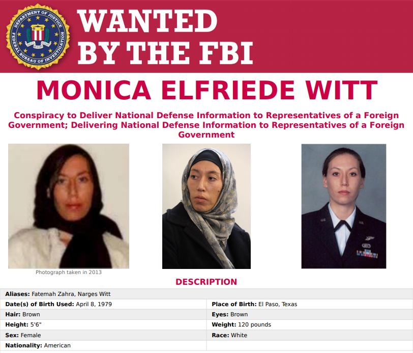 La scheda di Monica Elfriede Witt pubblicata dall'FBI
