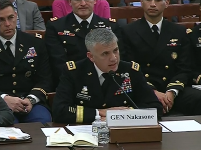 Il Gen. Nakasone durante l'udienza presso il Armed Services subcommittee on intelligence and emerging threats and capabilities