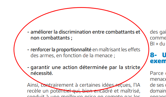 Parte del documento sull'intelligenza artificiale del Ministero della Difesa francese