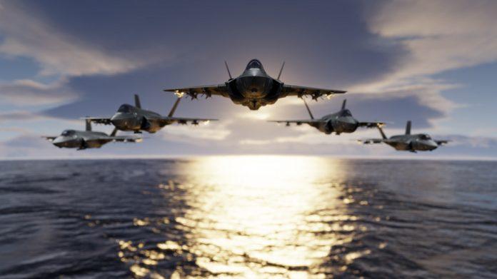 F-35 in formazione (rendering)
