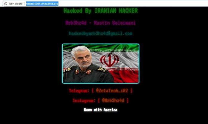 Screenshot di un defacement con la foto di Qasem Soleimani